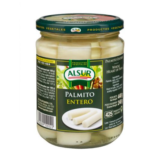 PALMITO ENTERO ALSUR FRASCO 410 ML