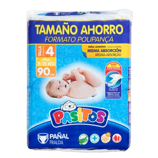 PAÑAL PASITOS TALLA 4 PACK 90 UDES