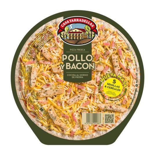 PIZZA TARRAD. 5CER. POLLO Y BACO